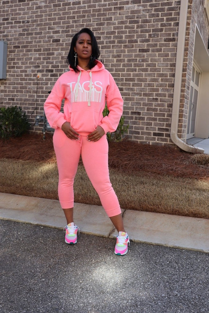 TAGS Hooded Jogger Set - Pink