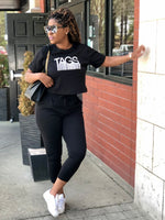 TAGS SS Crop Sweatsuit - Black
