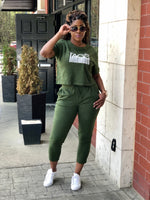 TAGS SS Crop Sweatsuit - Olive