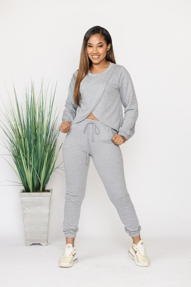 Don't Cross Me Sweatsuit - Grey