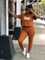 TAGS SS Crop Sweatsuit - Brown