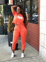 TAGS SS Crop Sweatsuit - Orange