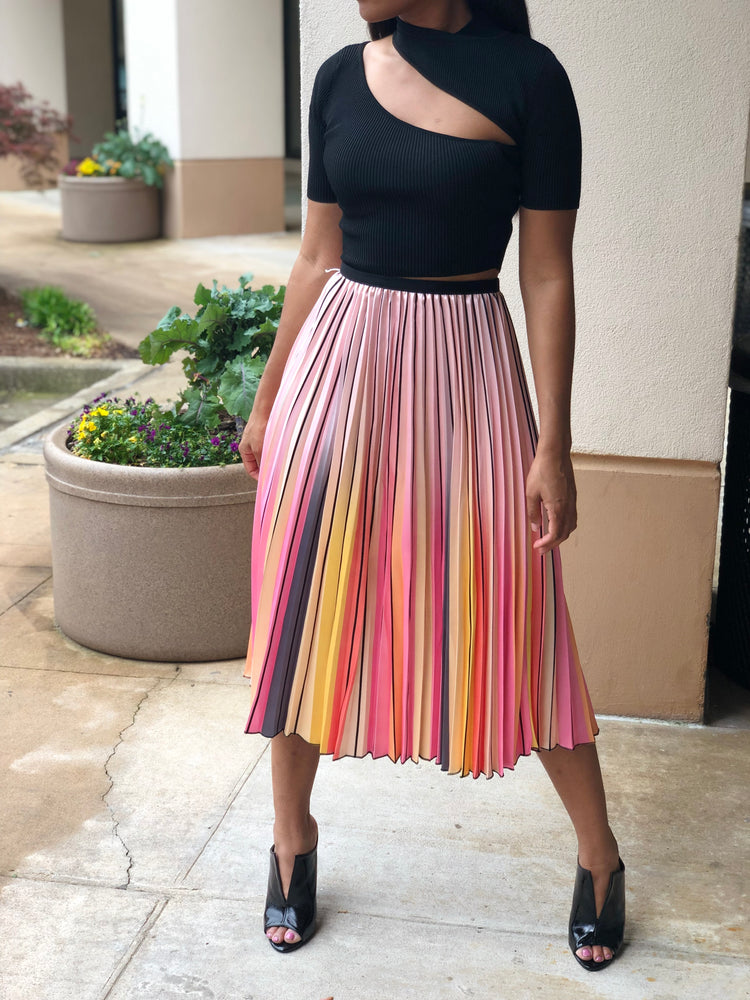 Pinking of You Pleated Skirt