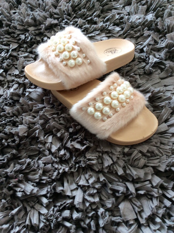 Fuzzy Pearl Sandals
