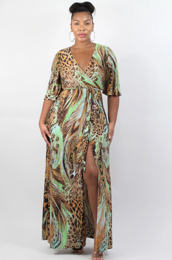 Green Peacock Wrap Dress
