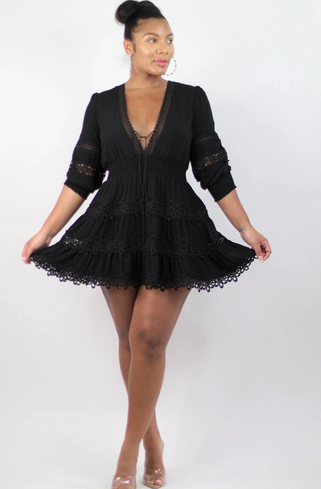 Black Rose Tunic Dress