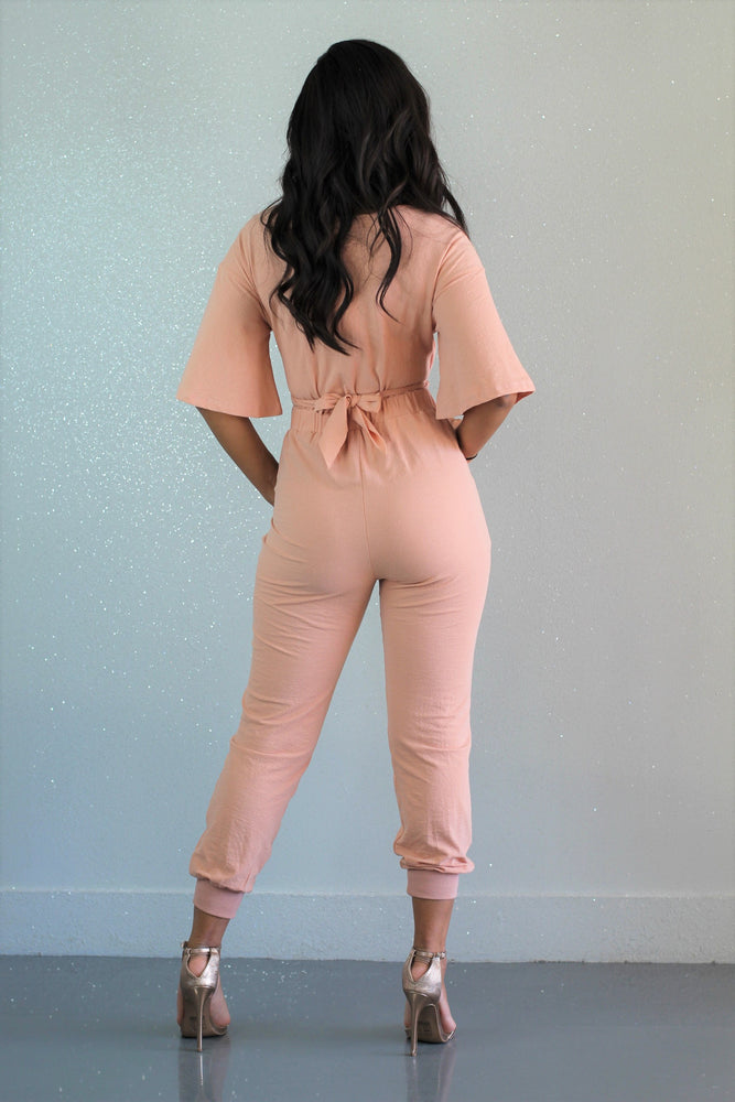 Hold The Peach Jumpsuit