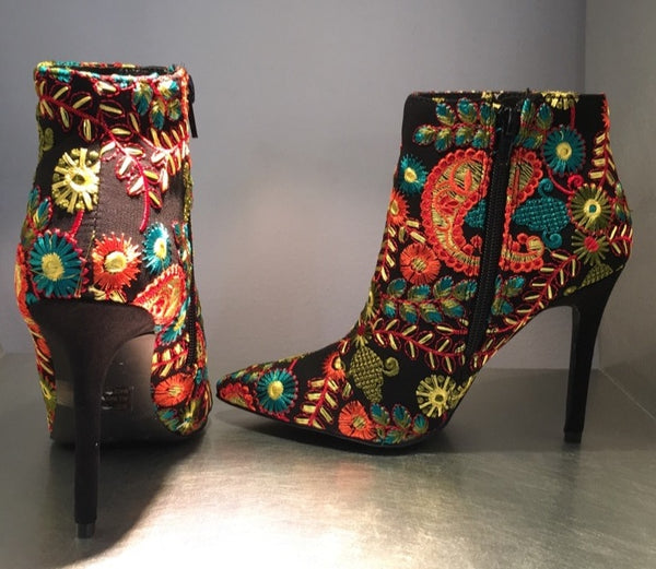 Roxanne Embroidered Booties - FINAL SALE
