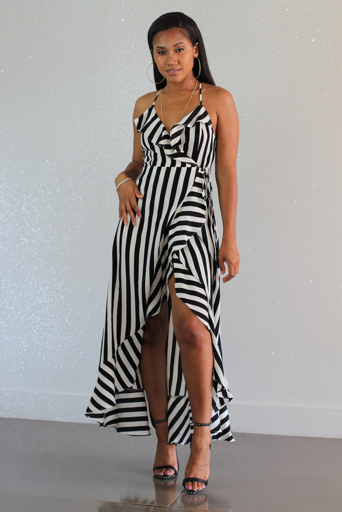 Stripes Ahoy Wrap Dress