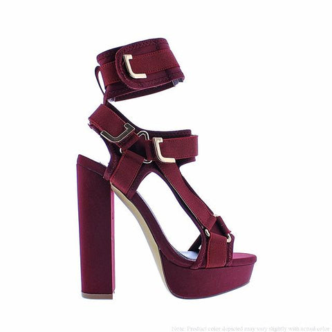 Ruby Red Block Heels
