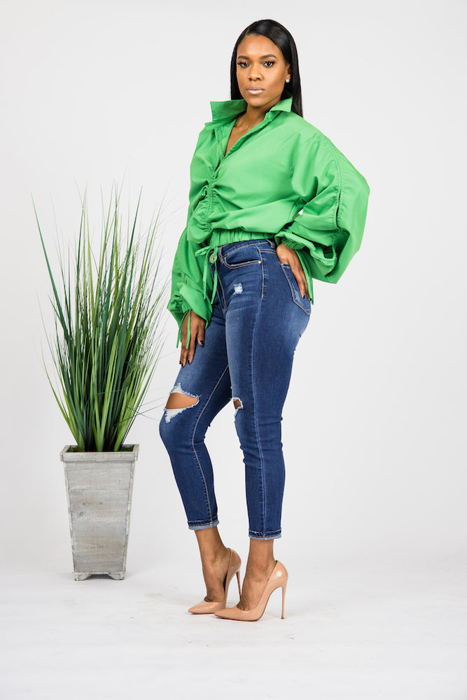 All The Drama Blouse - GREEN
