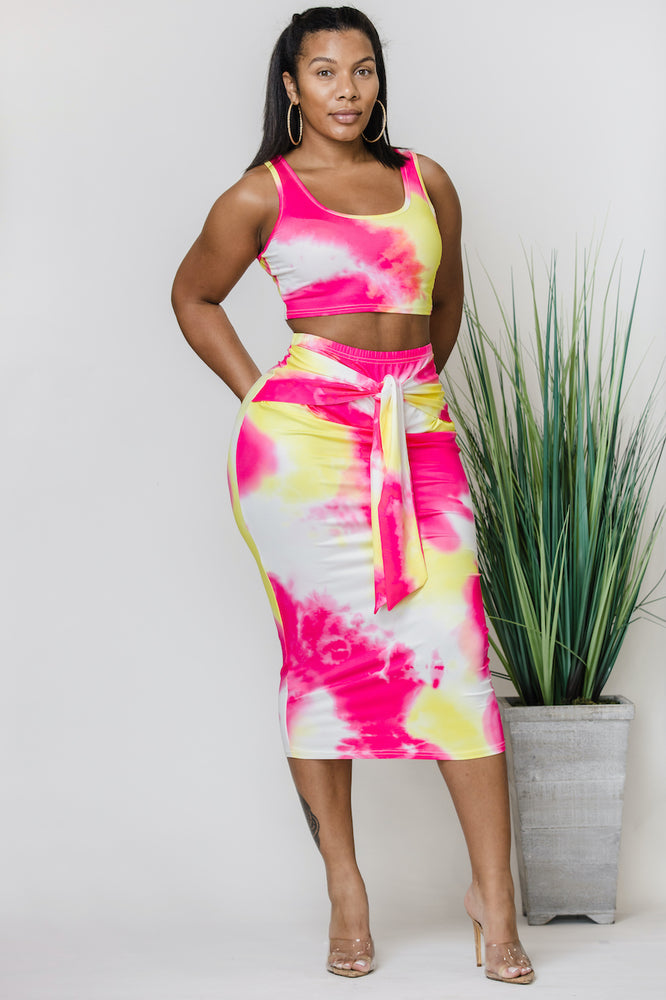 Get Tied Skirt Set (Plus Size)
