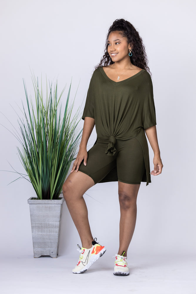 Bohemian Olive Short Set - FINAL SALE