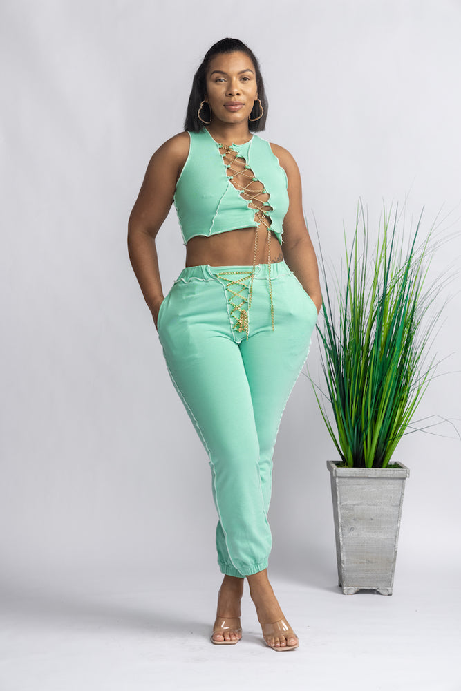 Chained In Jogger Set - Teal
