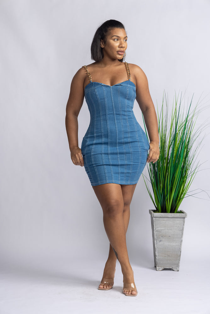 Chained To Me Denim Dress