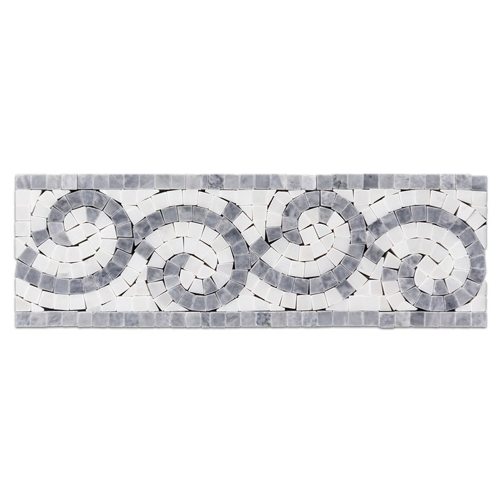 "Pacific Gray with Pearl White 4"" x 12"" Wave Border Polished - Elon Tile"