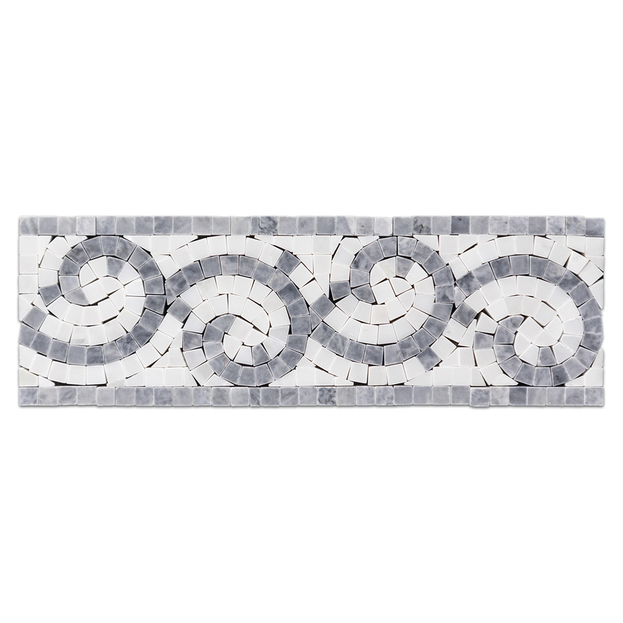 "Pacific Gray with Pearl White 4"" x 12"" Wave Border Polished - Elon Tile & Stone"