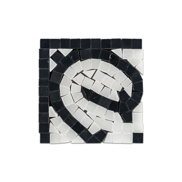 Black with White Absolute Wave Corner Honed - Elon Tile