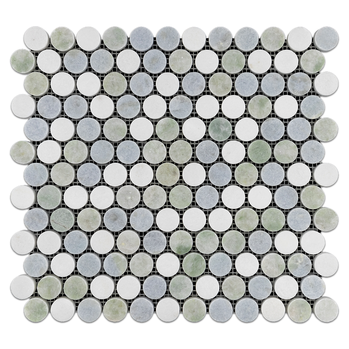 "Tri-Blend 1"" Rounds (Ming Green/White Thassos/Blue Celeste) Mosaic Polished - Elon Tile"