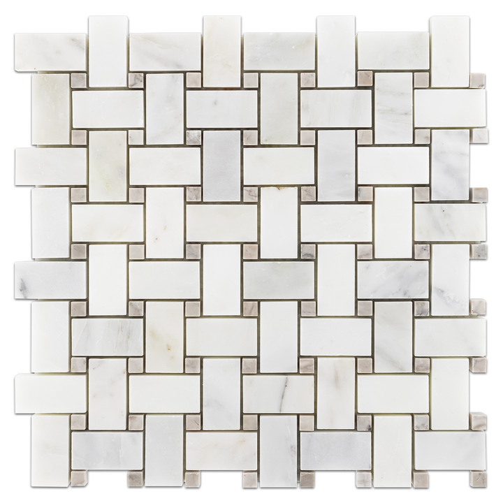 "Pearl White Basketweave with 3/8"" Temple Grey Dot Honed (1 sf) - Elon Tile"