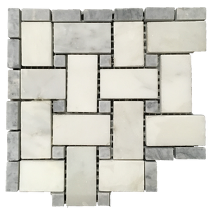 "**LIMITED STOCK** Pearl White Basketweave Corner with 3/8"" Pacific Gray Dot Honed - Elon Tile"