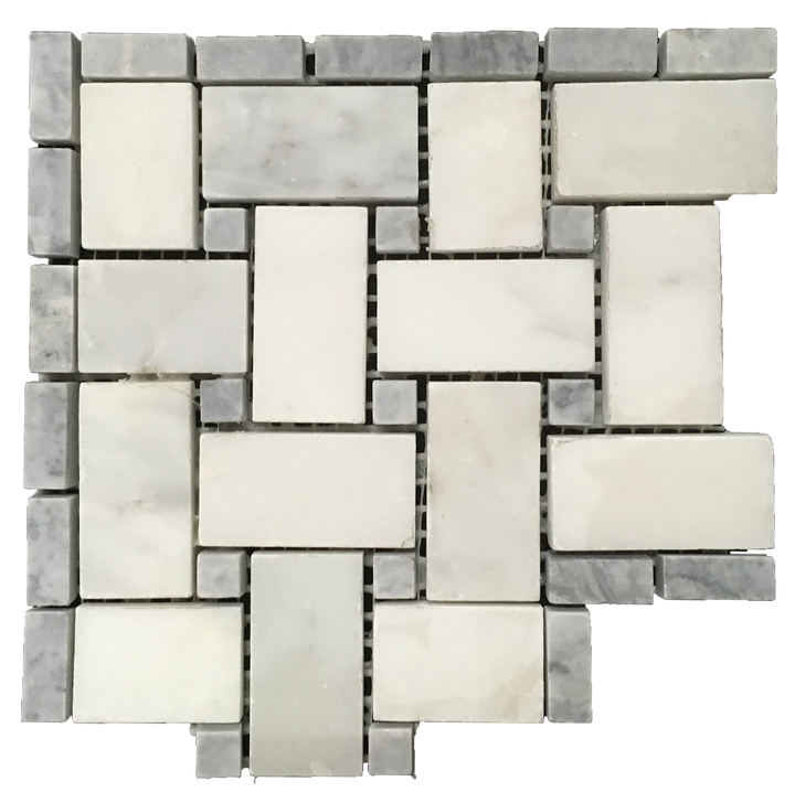"Pearl White Basketweave Corner with 3/8"" Pacific Gray Dot Honed - Elon Tile"