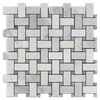 Pearl White Basketweave with Pacific Gray Dot Mosaic Polished (1 sf)
