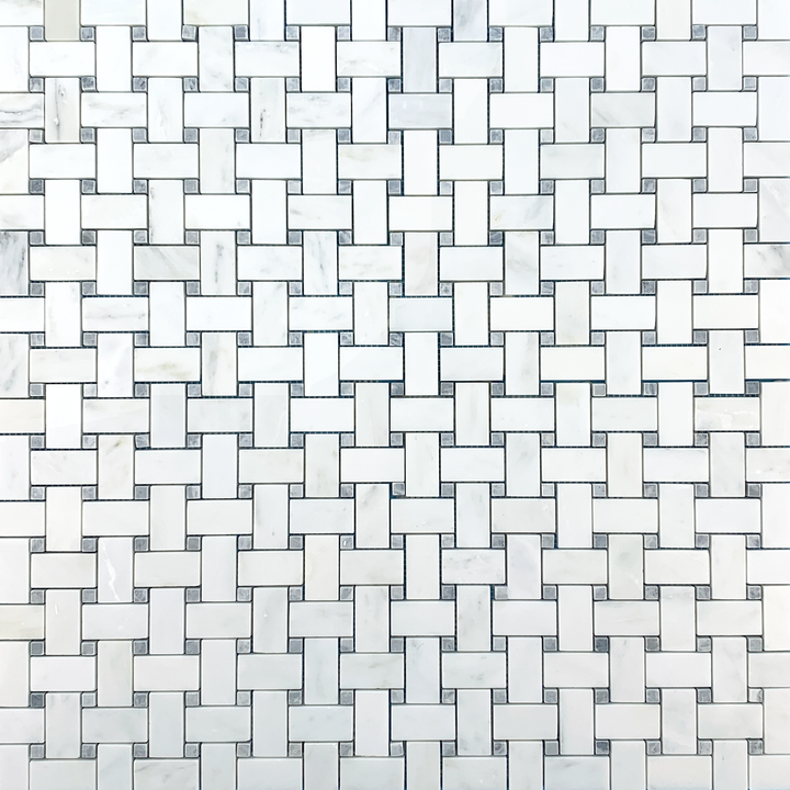 Pearl White Basketweave with Pacific Gray Dot Mosaic Polished - Elon Tile