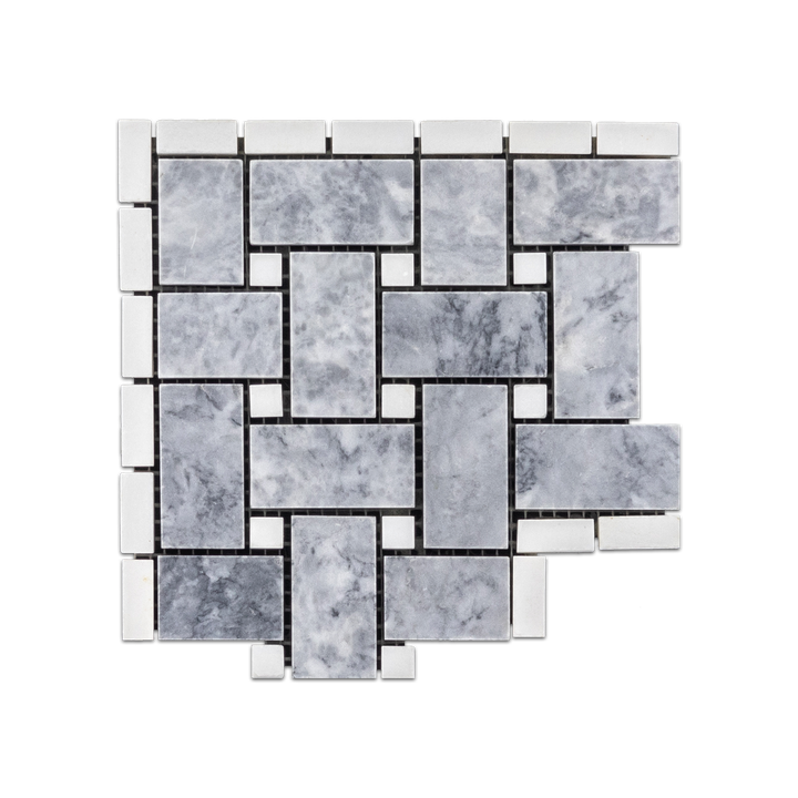 "Pacific Gray Basketweave Corner with 3/8"" White Absolute Dot Honed - Elon Tile"