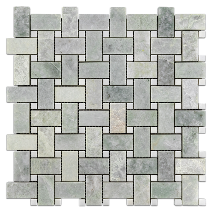Ming Green Basketweave with White Absolute Dot Mosaic Polished (1 sf) - Elon Tile