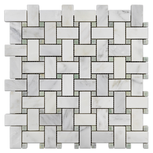 Pearl White Basketweave with Ming Green Dot Mosaic Honed (1 sf) - Elon Tile