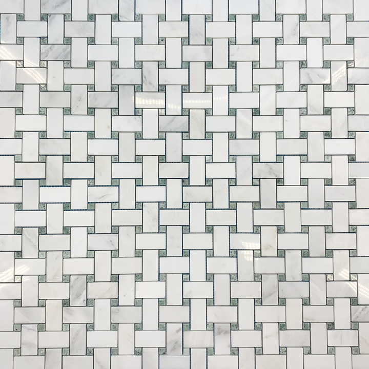 Pearl White Basketweave with Ming Green Dot Mosaic Polished (1 sf) - Elon Tile