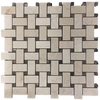 "Crema Marfil Basketweave with 3/8"" Dark Emperador Dot Mosaic Honed (1 sf)"