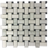 Pearl White Basketweave with Black Dot Mosaic Honed