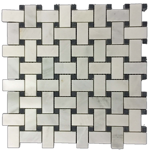 Pearl White Basketweave with Black Dot Mosaic Honed - Elon Tile