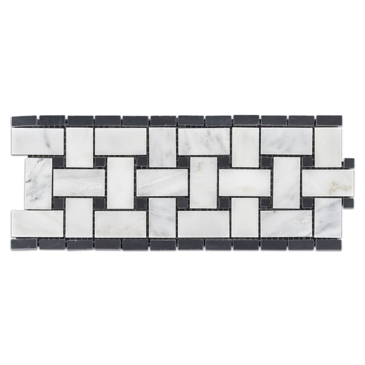 "Pearl White Basketweave Border with 3/8"" Black Dot Polished - Elon Tile"