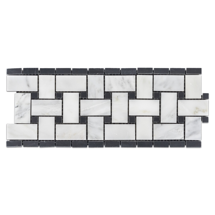 "**LIMITED STOCK** Pearl White Basketweave Border with 3/8"" Black Dot Polished - Elon Tile"