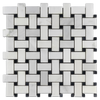 Pearl White Basketweave with Black Dot Mosaic Polished (1 sf)