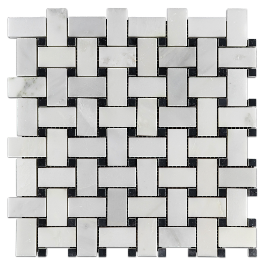 Pearl White Basketweave with Black Dot Mosaic Polished - Elon Tile
