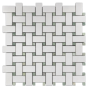 "White Thassos Basketweave with 3/8"" Ming Green Dot Mosaic Polished - Elon Tile"