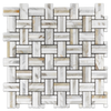 Calacatta Tri-Weave with Calacatta Dot Mosaic Polished (1 sf) - Elon Tile