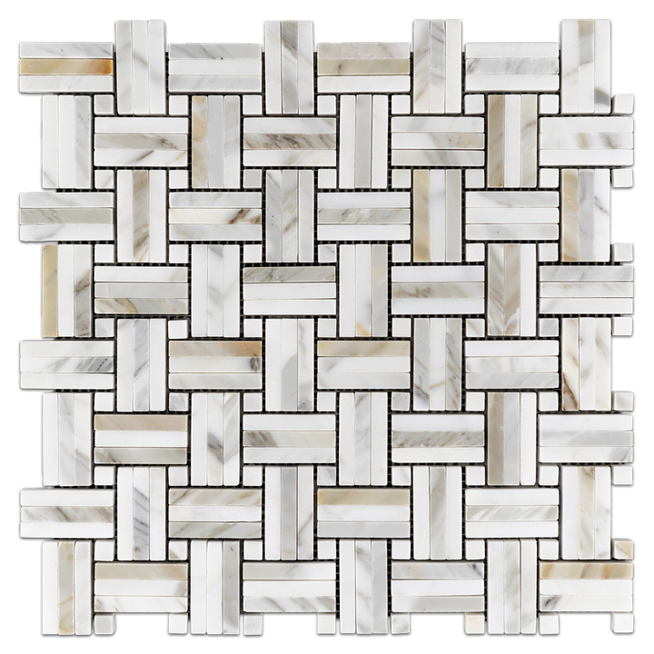 Calacatta Tri-Weave with Calacatta Dot Mosaic Polished - Elon Tile