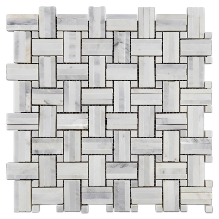 Pearl White Tri-Weave with Pearl White Dot Mosaic Honed (1 sf) - Elon Tile