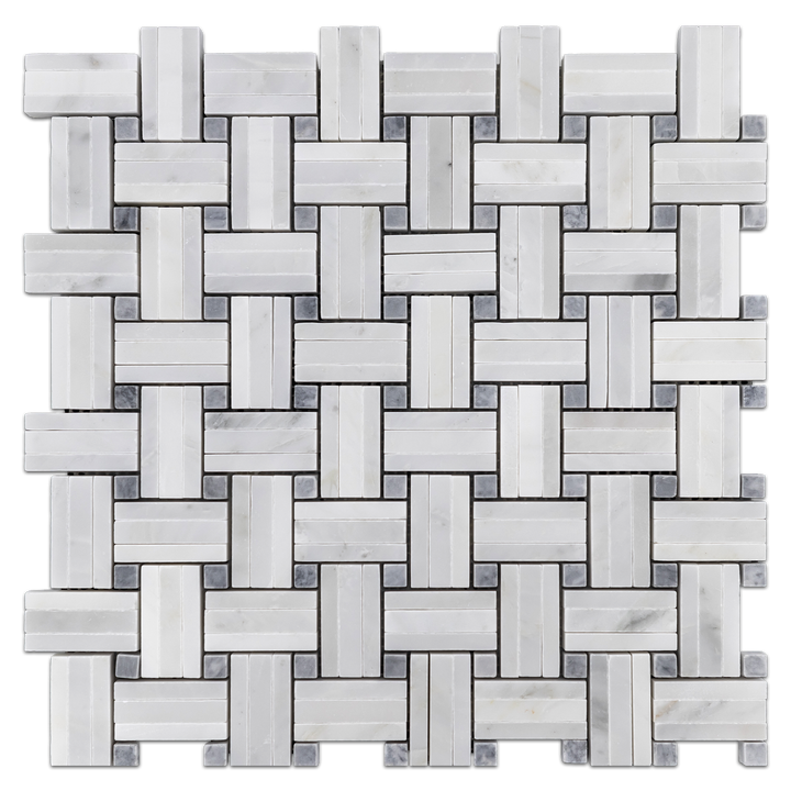 Pearl White Tri-Weave with Pacific Gray Dot Mosaic Honed - Elon Tile