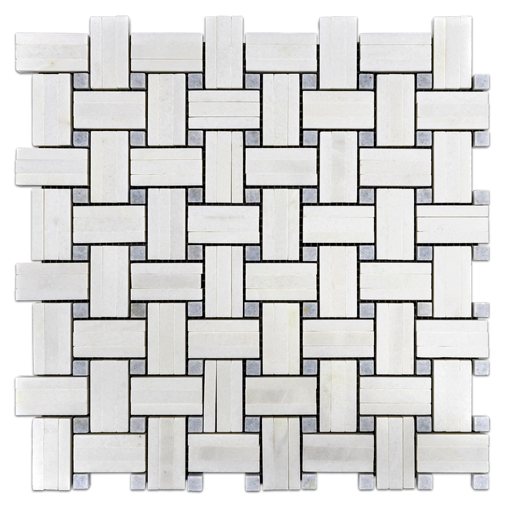 White Thassos Tri-Weave with Blue Celeste Dot Mosaic Polished (1 sf) - Elon Tile