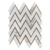 Calacatta Herringbone with Gold Aluminum Mosaic Polished (1 sf) - Elon Tile