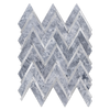 Pacific Gray Herringbone with Silver Aluminum Mosaic Polished (1 sf)