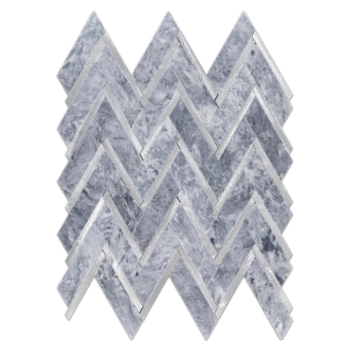 Pacific Gray Herringbone with Silver Aluminum Mosaic Polished - Elon Tile