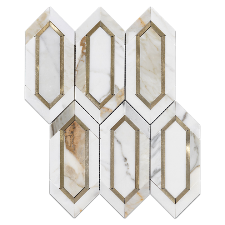 Calacatta with Gold Aluminum Picket Mosaic Polished - Elon Tile