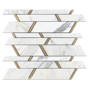 Calacatta Random Strip with Gold Aluminum Polished